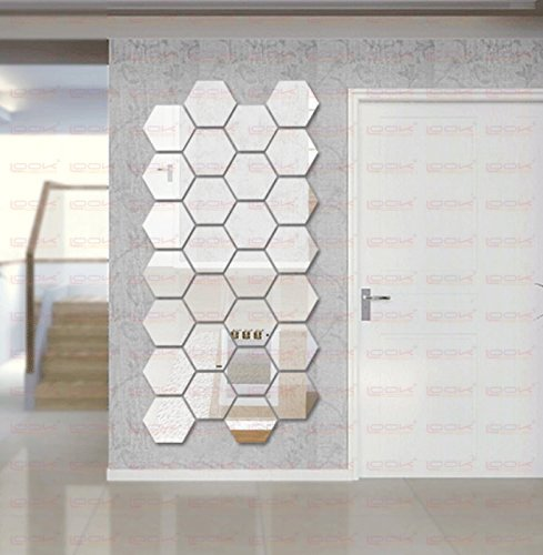LOOK DECOR 3D Acrylic Stickers for Walls, Silver (Pack of 28)