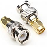 ANHAN SMA Male To BNC Male Adapter RF Coax Coaxial Connector Adapter M/M Straight Adapter Cable Connector 2Packs
