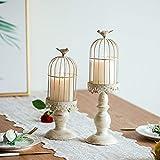Vintage Vogelkäfig Kerzenleuchter, Dekoration Kerzenhalter für Hochzeit und Esstisch, Kerzenständer aus Eisen mit Schnitzfiguren (2 Pcs/set) - 2