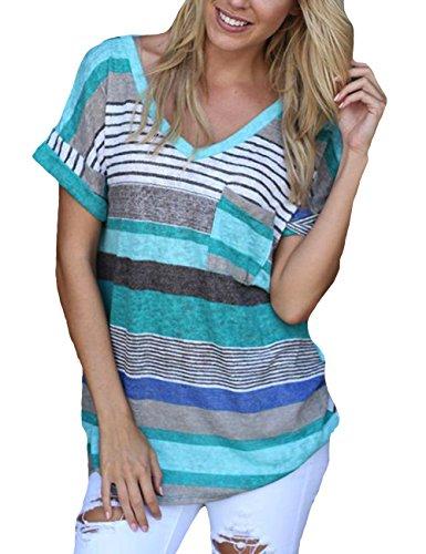 Blaues T-shirt Tasche (Damen Gestreift Kurzarm Tops Sommer V-Ausschnitt Tasche Casual Frauen Bluse Shirt (XXL, Blau))