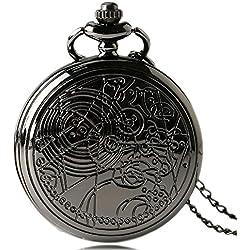 "DR WHO Black Effect Retro/Vintage Case Full Hunter Mens/Boys Quartz Pocket Watch Necklace - On 32"" Inch / 80cm Chain"