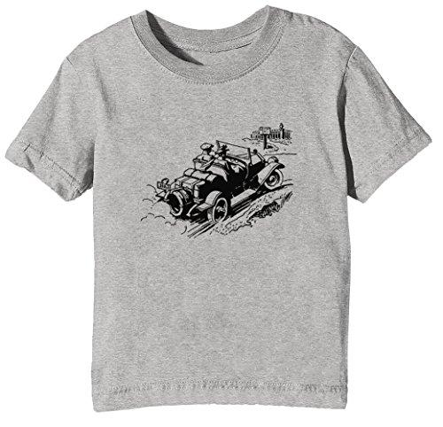 Antiquität Auto Karikatur Illustration Kinder Unisex Jungen Mädchen T-Shirt Rundhals Grau Kurzarm Größe XL Kids Boys Girls Grey X-Large Size XL