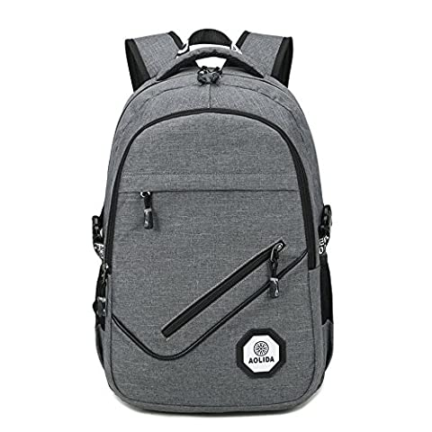 Unisex 15 Inch Stylish Laptop Backpack with USB Charging Port, Business Traveling Outdoor Multipurpose / Multi-Space Rucksack and School Bags Black Blue Grey