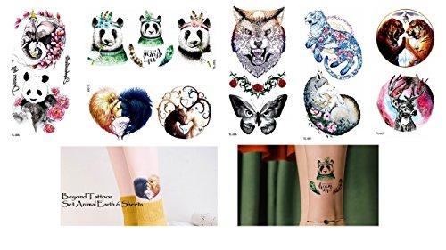 6fogli animali adesivo fake adesivo wolf tiger cervo elefante panda tattoo animal earth 6sheets