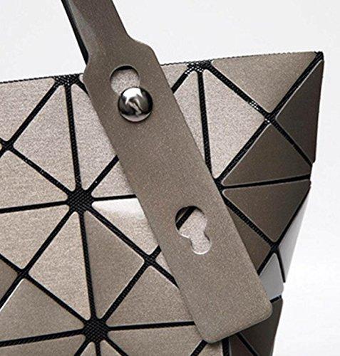 FZHLY Borsa A Tracolla Magico Modo Delle Signore Piazza Ling Ge Pacchetto Geometrica Laser,White Silver