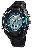 Herrenuhr Analog Digital Armbanduhr Schwarz Blau + Box Quarz Silikon Chronograph Sport Alarm Licht Stoppuhr Datum AnaDigi