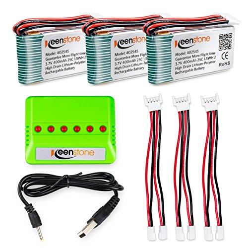 Keenstone 3 Stück 3,7V 400mah Batterien für UDI U818A WiFi und 1 bis 3 Ladegerät FPV U845A U945 WiFi Rc Quadcopter Drone Ersatzteile