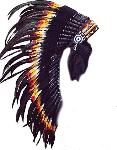 Y11 moyen indien coiffe de plumes Double (36 pouces de long)