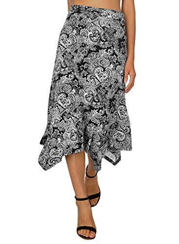 DJT Damen Elastische Taille Einfarbig Ausgestelltes A-Linie Faltenrock Schwarz-Blumen #2 Large