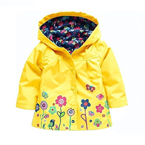ROT Kids Girls Clothes Jacket Raincoat Waterproof Hooded Coat Outerwea (100cm(Age For 2.5T-3.5T), Yellow)