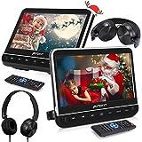 Pumpkin Double Ecran DVD Voiture 10,1 Pouce (Deux Lecteurs DVD) pour Enfant Supporte HDMI Input Région Libre USB SD Equipé Ecouteur avec Support de Montage