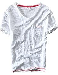 Insun Hommes col en V T-Shirt en Coton Manches courtes Tops Printemps Eté Tees