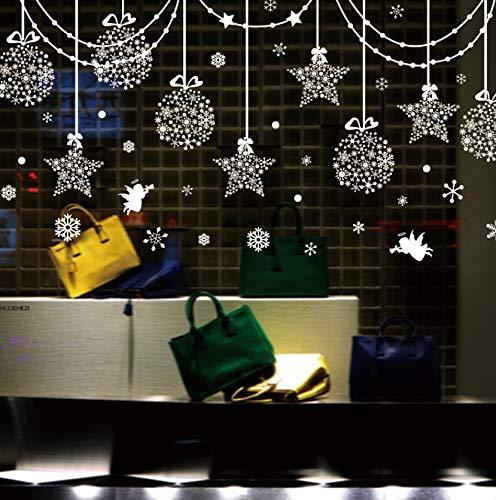 Sterne Schneeflocken Engel Glas Aufkleber Diy Hängen Ornament Wandtattoos Für Wohnzimmer Schaufensterdekoration 50X105 Cm