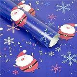 QinMM Carta da Regalo di Natale, Albero di Regalo di Natale Santa Wrap Decorative Xmas Party Roll Fai da Te, 3 Pezzi