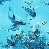 Elizabeth's Studio Türkiser Stoff mit Delfinen und Fischen