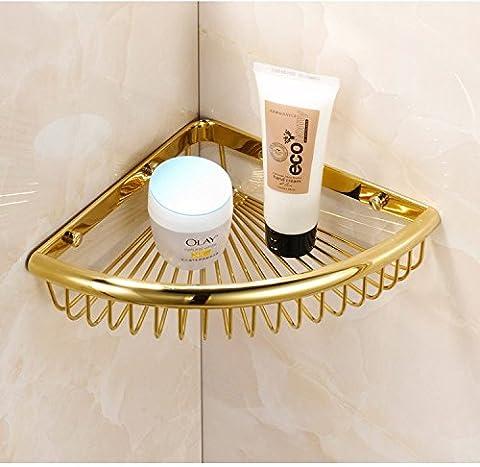 Mangeoo Etagère d'angle - Golden triangle rectangle panier panier cuivre matériel de la salle de bain,coin coin or unique