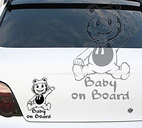 Autoaufkleber Autotattoo Baby on Board in Kostüm Kind an Bord Creme KLEIN