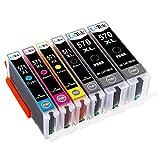 LxTek kompatibel Ersatz für Canon 570 571 XL PGI-570XL CLI-571XL Druckerpatronen für Canon Pixma MG5750 MG5751 MG5752 MG6850 MG6851 MG6852 TS5050 (2 PGBK, 1 Schwarz, 1 Cyan, 1 Magenta, 1 Gelb)