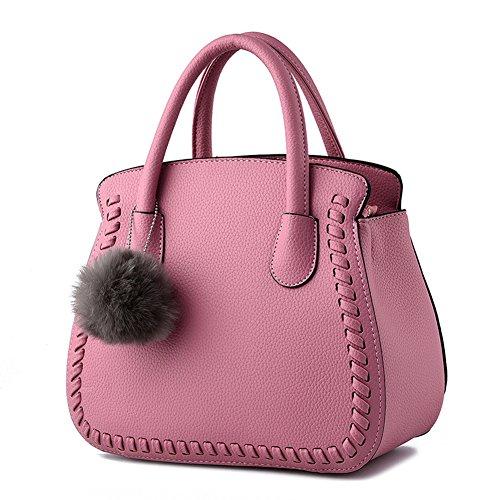 Donna Tote Borse in PU Pelle Piccolo Fiocco Borsa a Mano grigio rosa