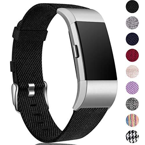 HUMENN Kompatibel für Fitbit Charge 2 Armband, Atmungsaktiv Ersatzband Gewebte Stoff Armbänd für Fitbit Charge 2 Tracker, Groß Schwarz Großes Armband