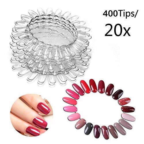 400 Tipps Transparent Nail Art Tipps Nagellack Swatch Sticks für Display und Praxis (Nagellack Der Praxis)