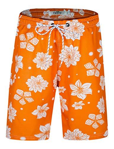 Herren Badeshorts Schnell Trocknend Badehose Fashion Beach Board Shorts mit elastischer Taille Orange EHS027-S