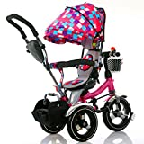 QXMEI Kinder Dreirad Fahrrad Baby Trolley 1-3-6 Kinder Dreirädrigen Fahrrad Kinderwagen mit Markise,Multi-Colored