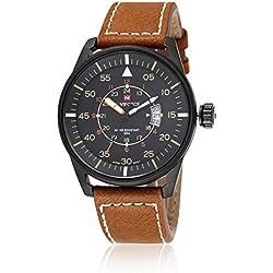 NAVIFORCE Men's Business Sport Day Display Analogue Quartz Black Case Leather Wrist Watch (Brown)