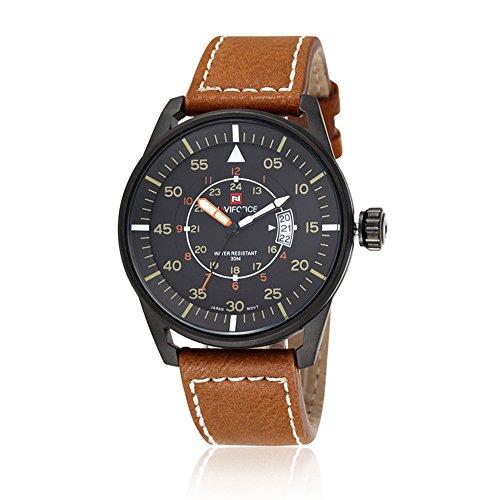 naviforce Herren Business Sport-Tag-Anzeige Analog Quarz Schwarz Fall Leder Armbanduhr (braun)