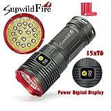Sisit 50000 lumens, 15x XM-L T6 LED Lampe de poche Supwildfire. Construire dans l'affichage numérique pour la batterie. Imperméable avec le cas d'alliage d'aluminium (Rouge)