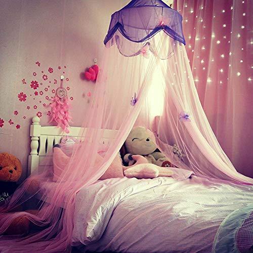 Thole Moskitonetz Runder Vorhang Kuppelbett Baldachin Netting Princess Mit Schmetterling Geeignet für den Einsatz unter 1,5 m Bett (Bett Für Schmetterlings-netz)