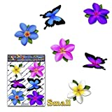 Fleurs multicolores Frangipanier Plumeria Petites + Papillon animal Autocollants de voiture - ST00041MC_SML - Stickers JAS