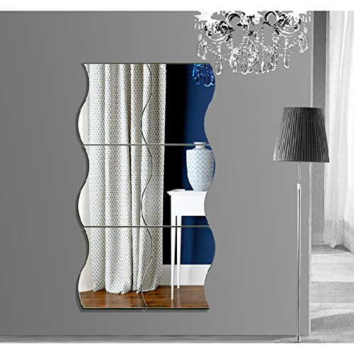 Wildlead 6 Stücke Wellen Form selbstklebende 3D Spiegel Wandaufkleber Home Room Decal Dekoration