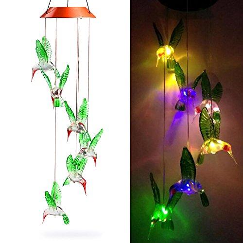 LED Lampe Carillon à Vent Energie Solaire - Efanty Carillon Solaire LED Lumière Changeant de Couleurs Lampe Solaire pour Jardin Patio Porch Mobile D'exterieur Ou Intérieur Décor - Oiseau-mouche