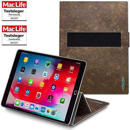 reboon Hülle für Apple iPad Air 2019 Tasche Cover Case Bumper   in Braun Wildleder   Testsieger (Ipad Air Case Book)