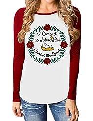 Paolian Noël Femmes Guirlande Lettre Imprimer Long Manches Casual Pull t-shirt