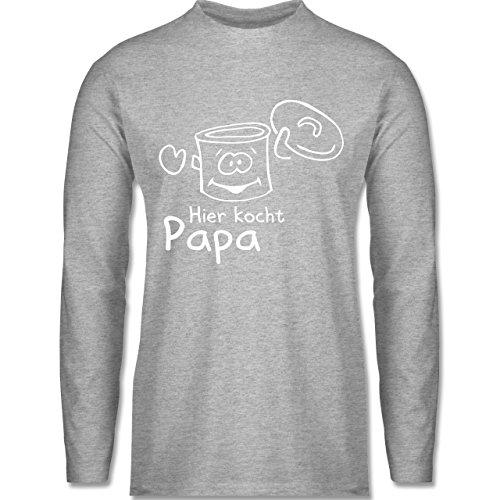 Shirtracer Küche - Hier Kocht Papa - Herren Langarmshirt Grau Meliert
