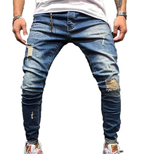 Huateng jeans uomo, jeans aderenti strappati elasticizzati da uomo pantaloni jeans aderenti strappati imbottiti aderenti (blu scuro)