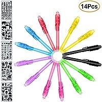 MonQi 14 pezzi Permanente Bolígrafo de Tinta Invisible con luz UV + 5 Plantillas (Cientos de Diseños Gráficos), Rotuladores de luz UV, Bolígrafos Espía , Bolígrafo Secreta para cumpleaños, Navidad