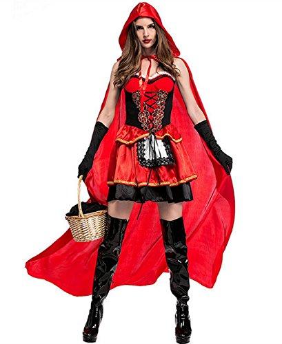 emmarcon Tuta Costume da Carnevale Halloween Cappuccetto Rosso Travestimento Vestito Cosplay Festa-Black-Red-Unica(it38-42)