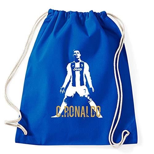 Art T-shirt, Zaino Sacca Cristiano Ronaldo CR7 Juventus Campioni, Blu