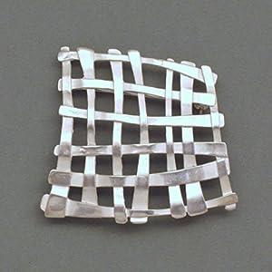 Silber-Brosche Gitter weiß