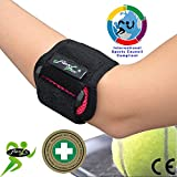 Tennis Elbow (framb) Coudière anti-épicondylite. Portée à WIMBLEDON. Bracelet de compression ANTI-TRANSPIRANT, HYPOALLERGÉNIQUE, respecte les peaux délicates. SANS NEOPRENE-SANS LATEX. 4DflexiSPORT