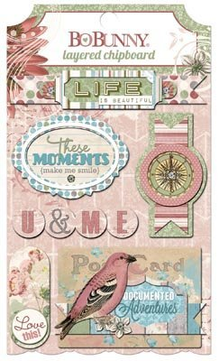 BoBunny Garden Journal Layered Chipboard Scrapbook Embellishments by Bo Bunny