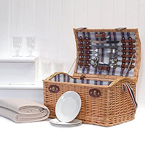 4 Person Picnic Wicker Stretford Basket & Cream Fleece Blanket - Gift idea for Birthday, Anniversary and Congratulations Presents