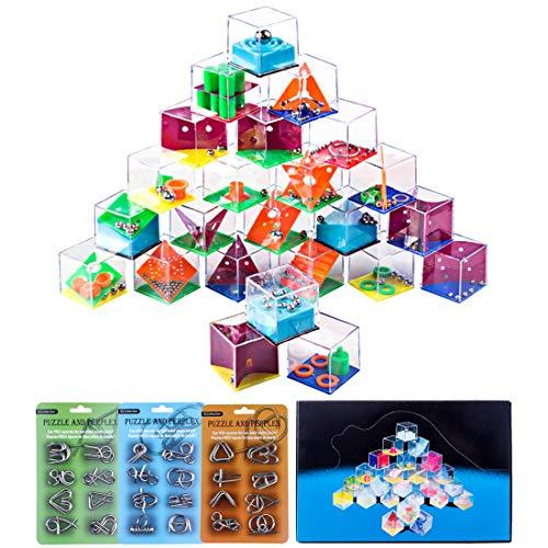 (FutureShapers 24Pack Metall Knobelspiele Set Rätsel Logikspiele IQ Puzzle + 24Pack Balance Labyrinth Spiel Mitgebsel Geduldspiele Adventskalender Inhalt für Kinder und Erwachsene)
