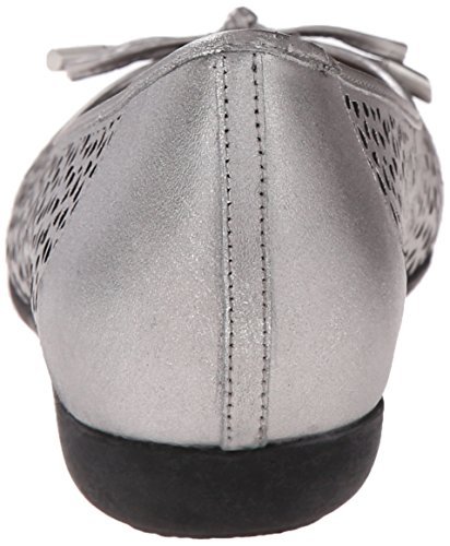 Trotters Sante Laser Large Cuir Chaussure Plate Pewter