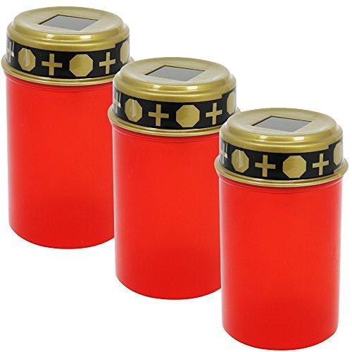 com-four® 3 LED Grablicht Kerzen Ewiges Licht in rot Solarbetrieben mit Dämmerungssensor (03 Stück - solarbetrieben) -