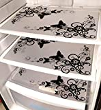 #2: Khushi Creation Set of 6 PVC Classic Black & White Premium Refrigerator Drawer mat Fridge Mats
