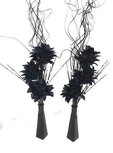 Set de 2de jarrones de cristal con perlas de flor artificial y hierba blanco y negro perfecto para las mesas de boda